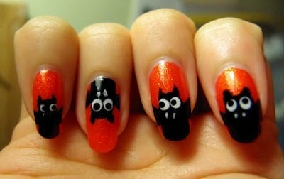 ... Bat Nails from Plisherrific ... - 30 Awesome Halloween Nail Art Ideas