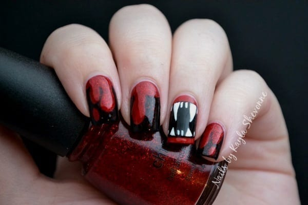 ... Vampire Fangs Frankenstein Nail Art ... - 30 Awesome Halloween Nail Art Ideas - Totally The Bomb.com