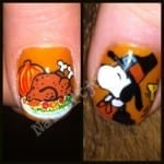 Snoopy Thanksgiving Nail Art by Nail Art Junkie