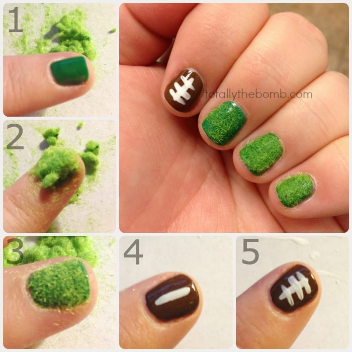 Football Nail Art Tutorial by TotallyTheBomb.com - How To Paint Super Easy Football Nail Art