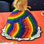 Back of Rainbow Barbie Cake