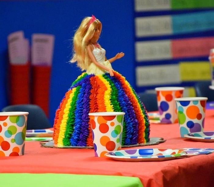 Rainbow Barbie Cake Table