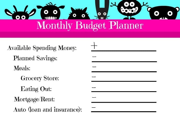 free printable quick monthly budget planner