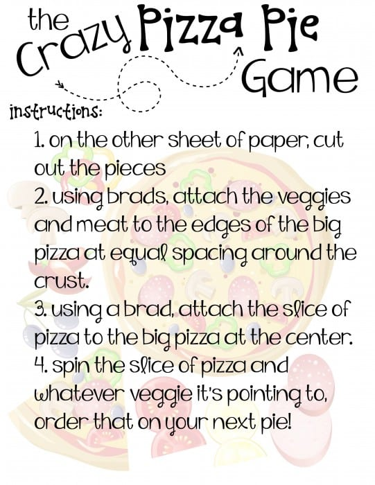 pizza pie vegetable game printable instructions