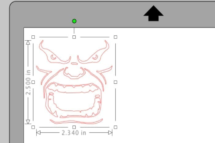 resize the hulk face outline so it fits onto the small pudding cups