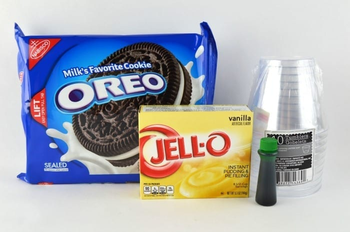 hulk pudding cups supplies needed: oreos, vanilla pudding, green food coloring, and clear plastic cups