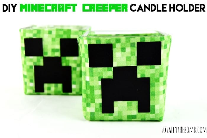 DIY Minecraft Creeper Candle Holder Featured