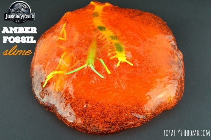 Jurassic World Inspired Amber Fossil Slime Featured