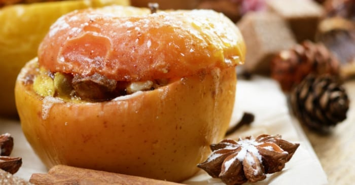 baked apple with walnuts