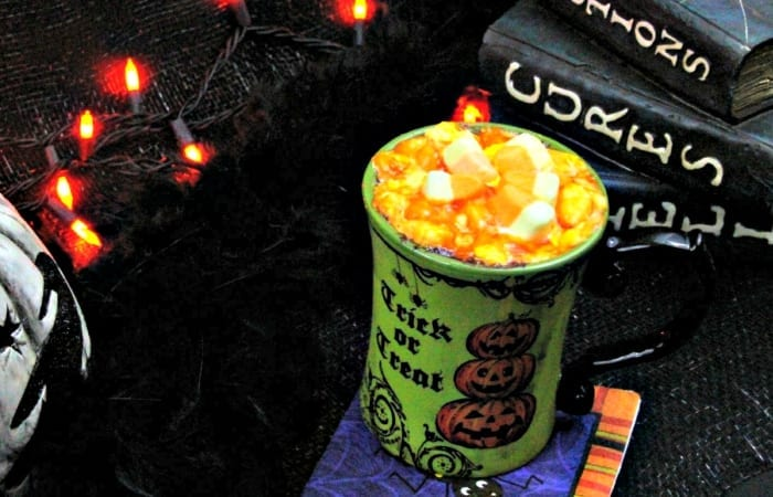 Spiked Hot Chocolate with Candy Corn Lava