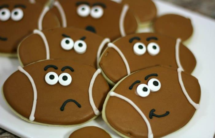 Cartoon Football Cookies