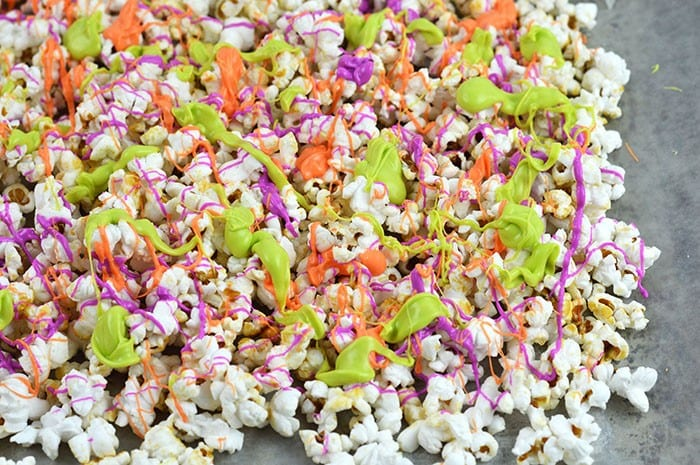 halloween chocolate kettle corn on tray