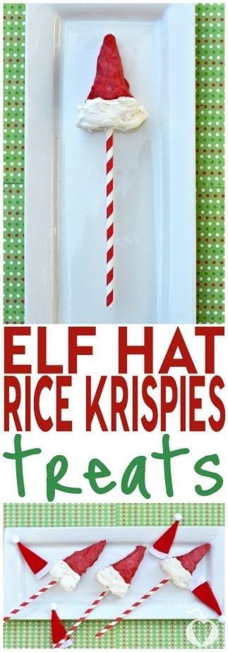 elf hat rice krispies treats