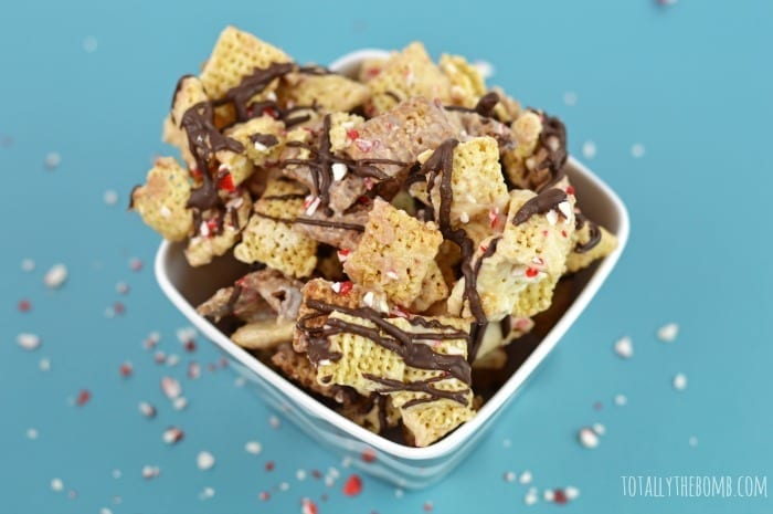 peppermint and chocolate chex mix featured