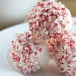 White Chocolate Peppermint Dipped Marshmallow Pops
