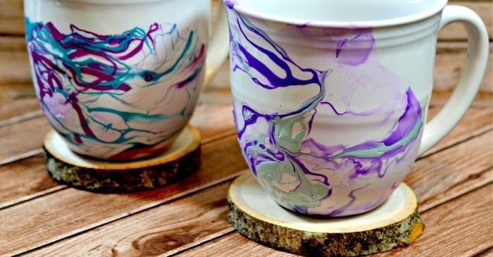diy marble mugs