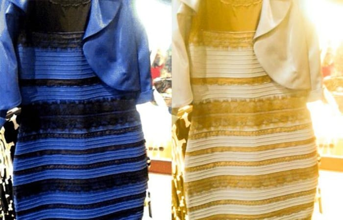 Color dress gold white blue and black