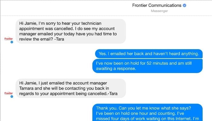 frontier communications facebook messages