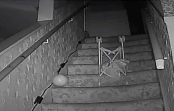 Poltergeist Pushes Stroller Down The Stairs, Spooky AF!