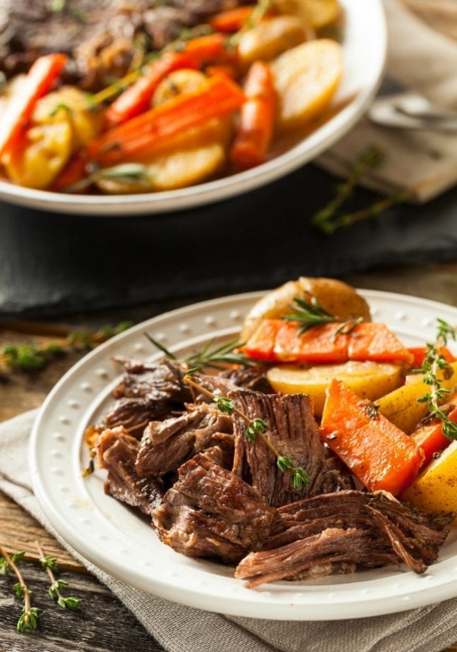This tender, flavorful pot roast is made in the Instant Pot for a quick, delicious dinner
