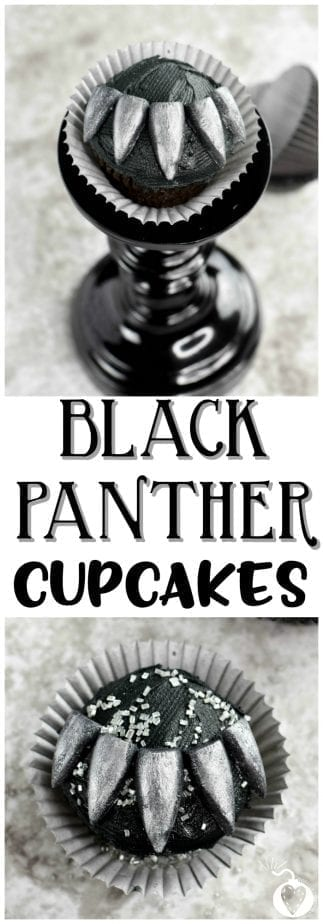 Black Panther Cupcakes #blackpanther #cupcakes #blackpantherrecipes #blackpantherpartyideas
