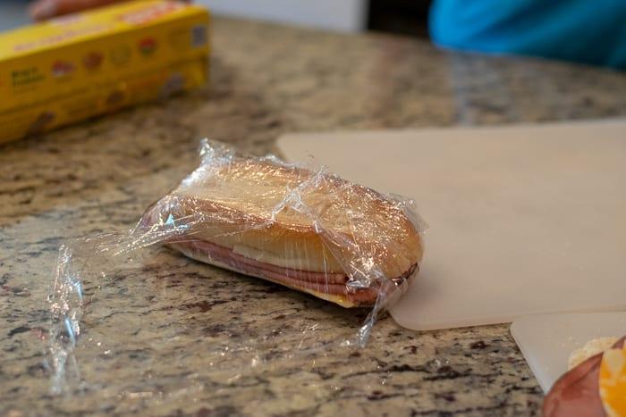 then wrap the sandwich like a present