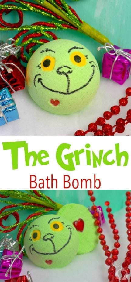 These homemade Grinch bath bombs are a perfect holiday gift