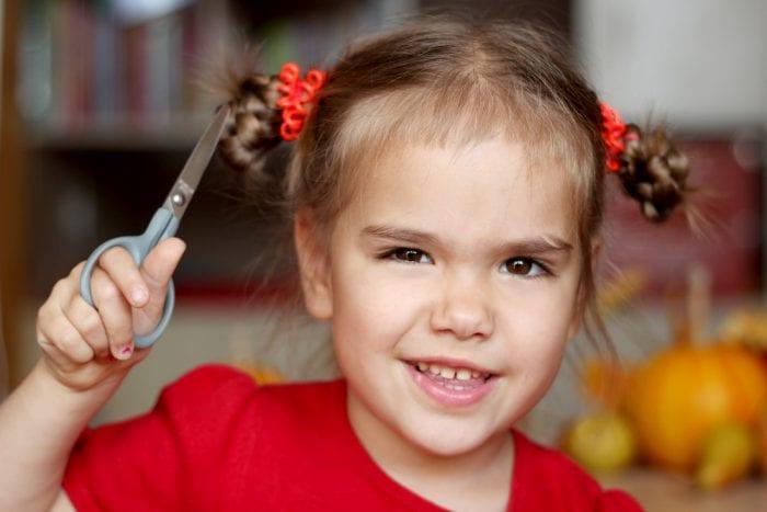 child cut own hair