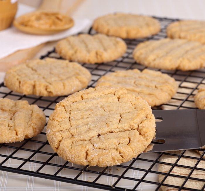 Make these super easy three ingredient peanut butter cookies for a delicious treat