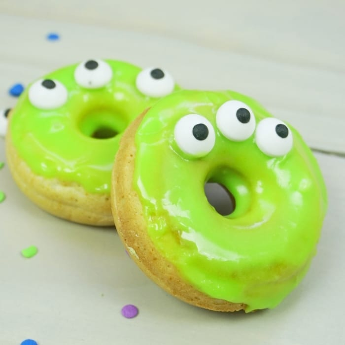 My kids are excited about Toy Story 4--and so am I. So I made these Out of this World Adorable Toy Story Alien Mini-Donuts because shared excitement should always include donuts. #toystory #toystoryfood #toystoryalien #alien #donut #donutrecipe #toystoryalienfood