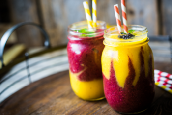 Have you ever been hyper-aware that you needed a pick-me-up in a bad way? Dude, this Pick-Me-Up Guaranteed Mango-Berry Smoothie is the solution for that problem. #smoothie #fruit #drink #breakfast