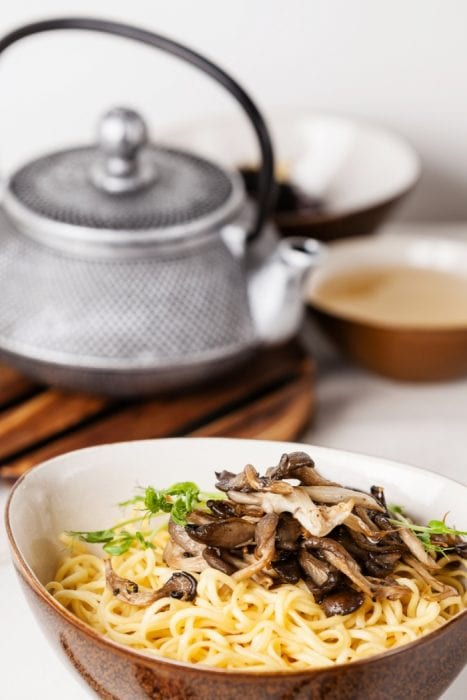 Make this insanely easy Oyster Mushroom Ramen Soup in just a few minutes and enjoy dinner on a busy night
