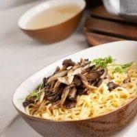 Insanely Easy Oyster Mushroom Ramen Soup
