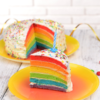 It's been, oh, about 3 days since I made something unicorn- or rainbow- themed. Get Your Squee Ready, It's Rainbow Unicorn Cake. #rainbow #unicorn #cake #rainbowcake #vegan