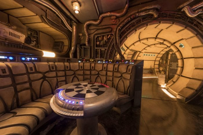 "A view of the inside ""galley area"" of the Melinnium Falcon ride at Start Wars: Galaxy's Edge."