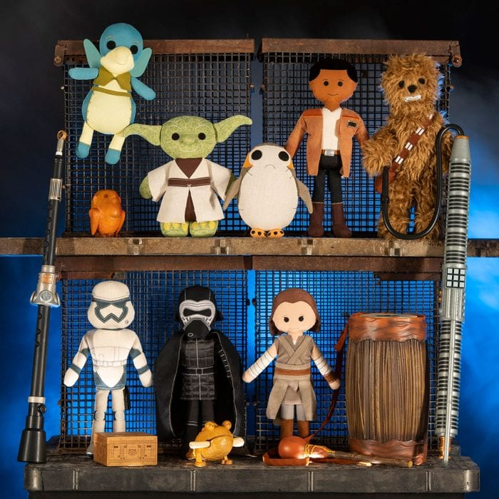 Stuffed figurines that will be available as souvenirs at Star Wars: Galaxy's Edge.