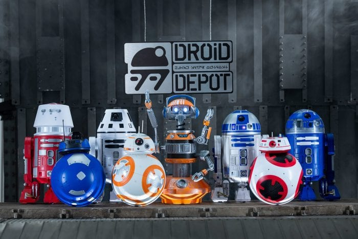 Multiple customized droids that will be available at Star Wars: Galaxy's Edge for visitors to create and buy to take home as souvenirs.