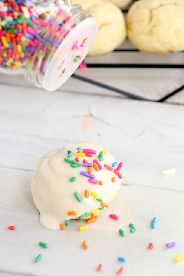 So soft and chewy, these Confetti Cookies are so ridiculously good, my mouth is watering for another taste. #confetticookies #cookies #cookierecipes #springcookies