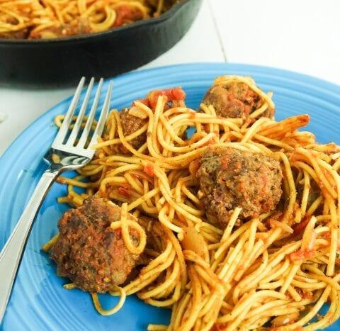 Skillet Spaghetti and Meatballs