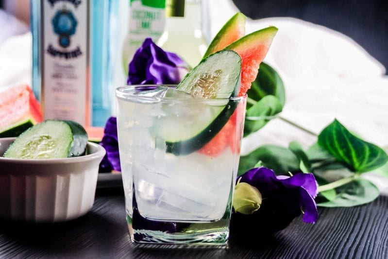 I know it's early, but summer is creeping up on us and I am chilling this spring with this amazingly refreshing Watermelon Cucumber Tonic. #cocktailrecipes #cocktail #summercocktail #watermeloncocktail