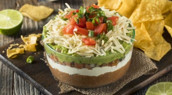 Homemade Chunky 7 Layer Dip with Beans, Sour Cream and Guacamole