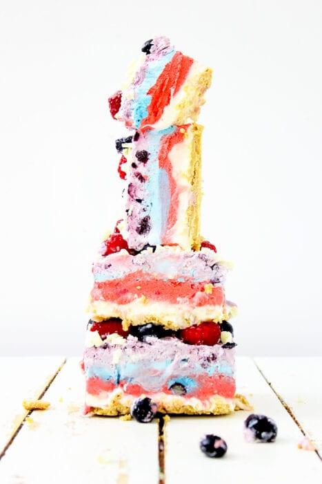 stacked no bake berry cheesecake bars