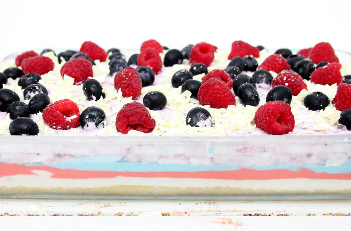 a side shot of the jello no bake berry cheesecake dessert