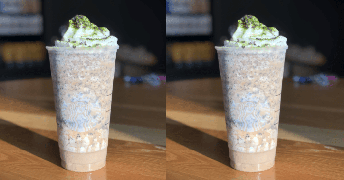 the Oogie Boogie Frappuccino is a white mocha and java chip frapp with whipped cream dusted with macha powder