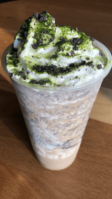 This Oogie Boogie inspired Frappuccino is made from a white chocolate mocha frapp with plenty of whipped cream and java chips
