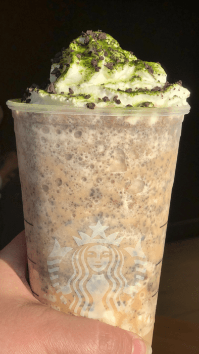 topped with whipped cream, macha powder and java chips, this Oogie Boogie Frappuccino is sweet, evil goodness