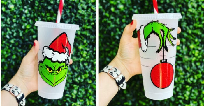 This epic Grinch Starbucks cup is the perfect way to sip your icy cold coffee this winter