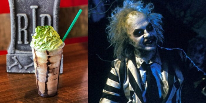 from the black and white stripes to the green topping, this Beetlejuice Frappuccino looks just like the creepy character