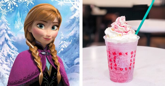 This Frozen themed Starbucks Frappuccino is inspired by Anna - it's sweet and fruity