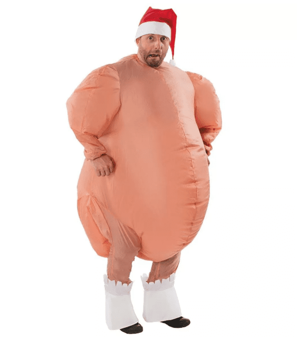 Mens Inflatable Turkey Costume Santa Hat Funny Christmas Fancy Dress Outfit